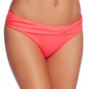 Shoshanna Wrap Band Bikini Bottom, Coral